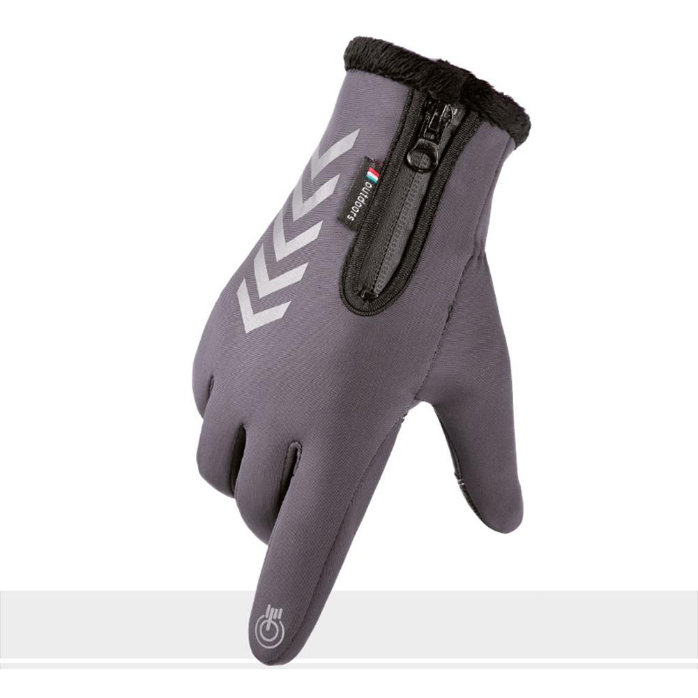 Men Women Cycling Gloves Autumn Winter Waterproof Slip Five Finger Touch Screen Night Riding Running Reflective Strip Gloves Waterproof arrow reflective gray_One size