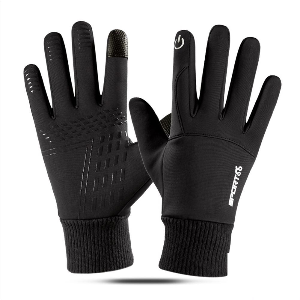 Touch Screen Running Gloves Lightweight Non-slip Warm Villus Gloves Men Women Waterproof Motorcycle Gloves black_One size