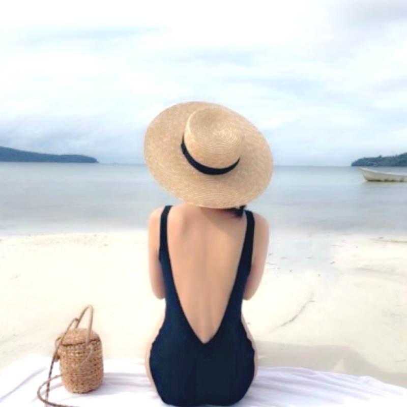 Women Swimwear Sexy Solid Color Triangle Backless One-piece Swimsuit black_m