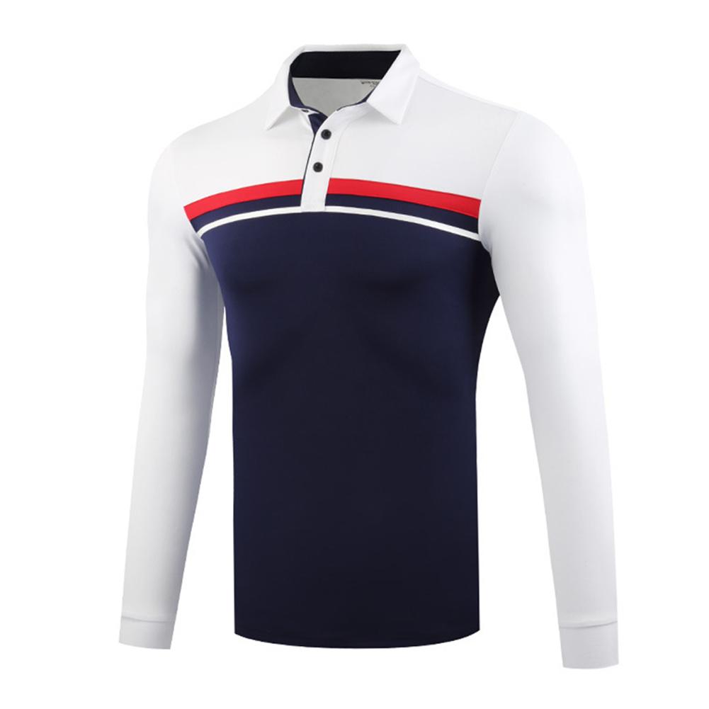 Golf Clothes Autumn Winter Men Clothes Long Sleeve T-shirt Sport Ball Uniform White navy_XL