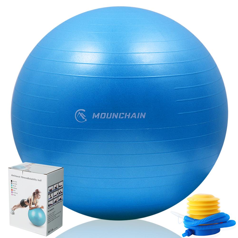 Mounchain Anti-Burst Yoga Ball (65cm), Extra Thick & Explosion-Proof Yoga Ball for Yoga, Pilates, Stretching Training, Midwifery Training etc