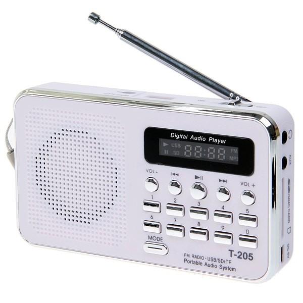 T-205 Fm Radio Portable Hifi Card Speaker Digital Multimedia Mp3 Music Loudspeaker Outdoor Sports Speaker white