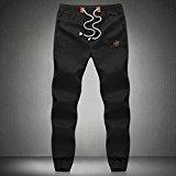 PS Men`s Hemp Cotton Natural Eco Lounge Pants Elastic Drawstring Trousers Black 5X-large