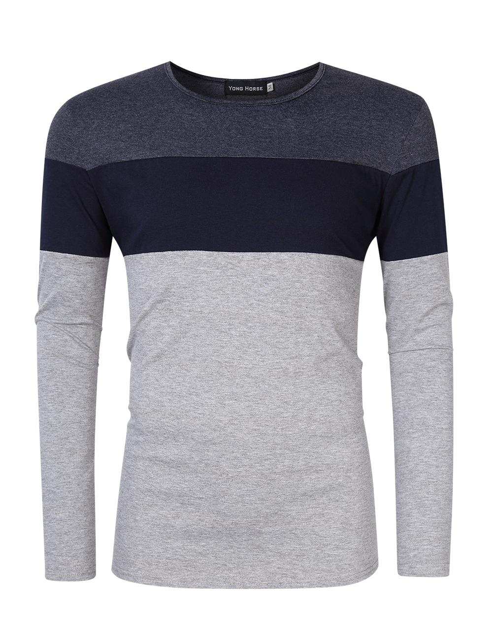 [US Direct] Yong Horse Men's Color Block Slim Fit Crew Neck Long Sleeve Basic Cotton T-Shirt Dark gray + sapphire blue_M