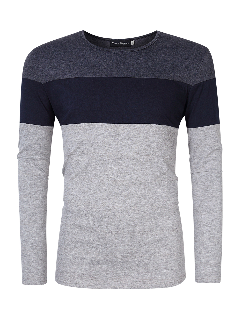 [US Direct] Yong Horse Men's Color Block Slim Fit Crew Neck Long Sleeve Basic Cotton T-Shirt Dark gray + sapphire blue_XXL