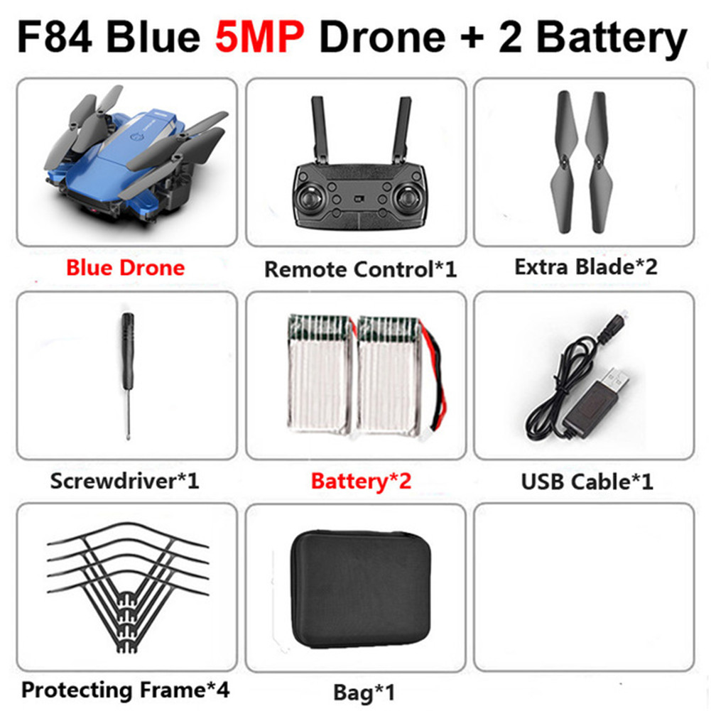 F84 Quadcopter Wireless RC Drone With 4K/5MP/0.3MP HD Camera WiFi FPV Helicopter Foldable Airplane For Children Gift Toy blue_5MP 2B