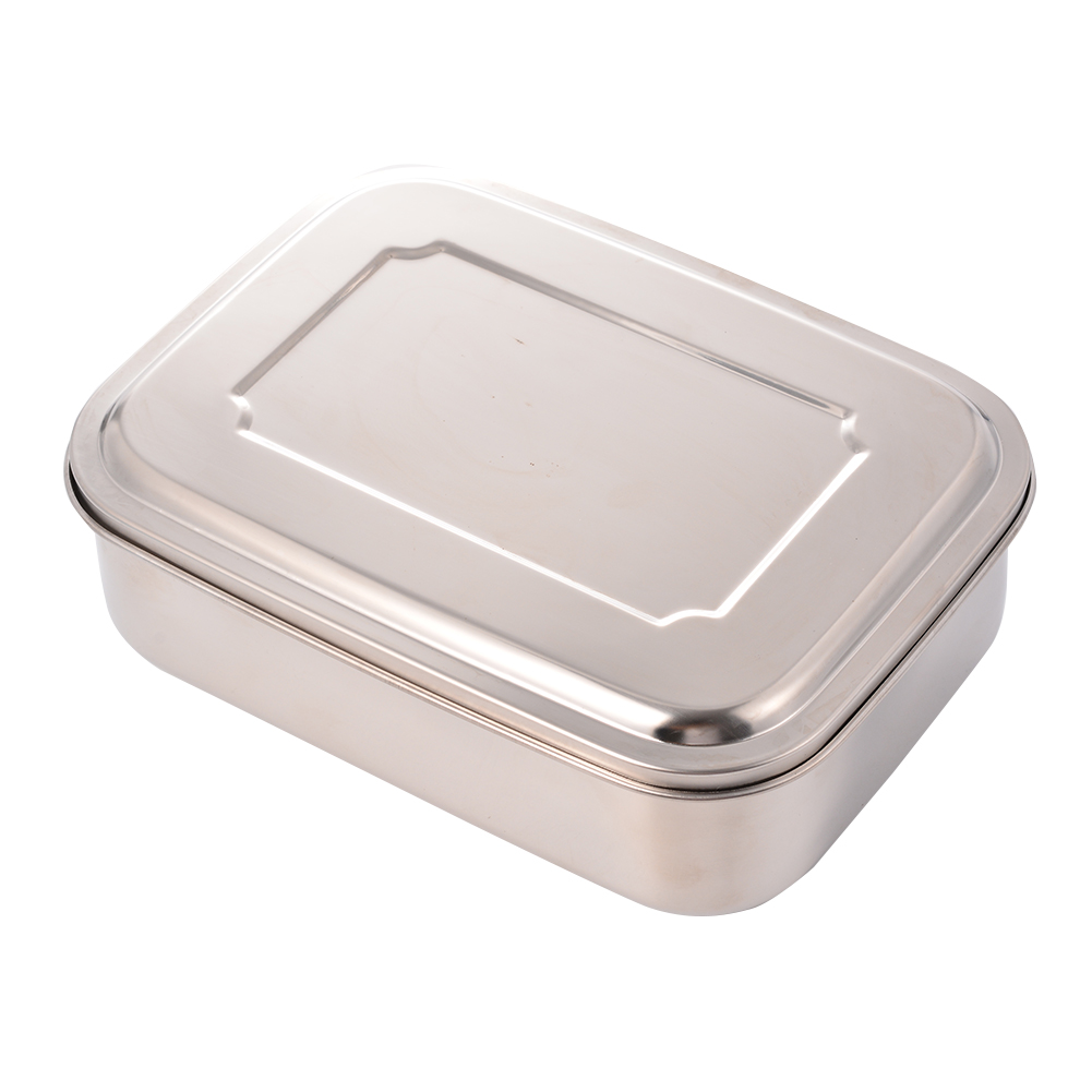 [US Direct] AKDSteel Bento Lunch Box Food Storage Container Boxes for Adults Kids, Stainless Steel silver