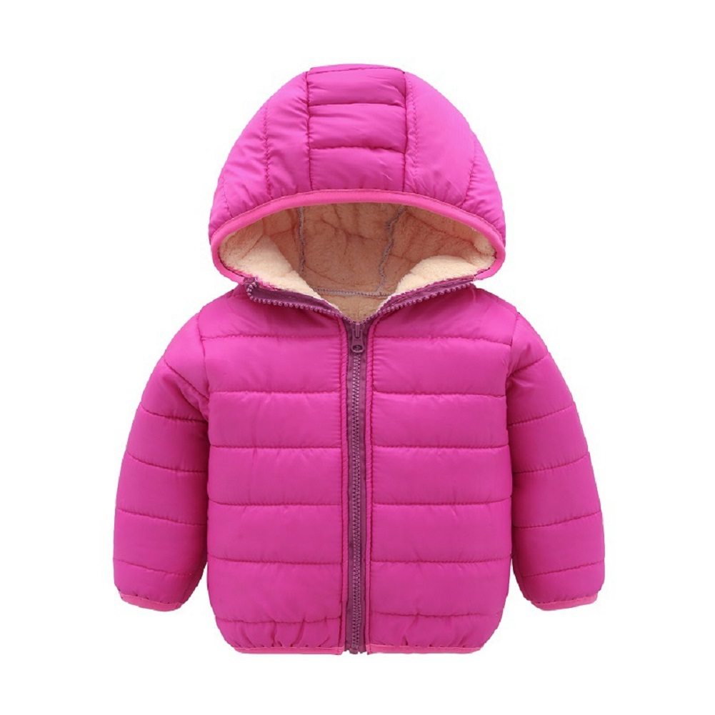 Kids Baby Boys Girls Candy Color Long Sleeve Thicken Cotton Padded Coat Outerwear rose Red_120cm