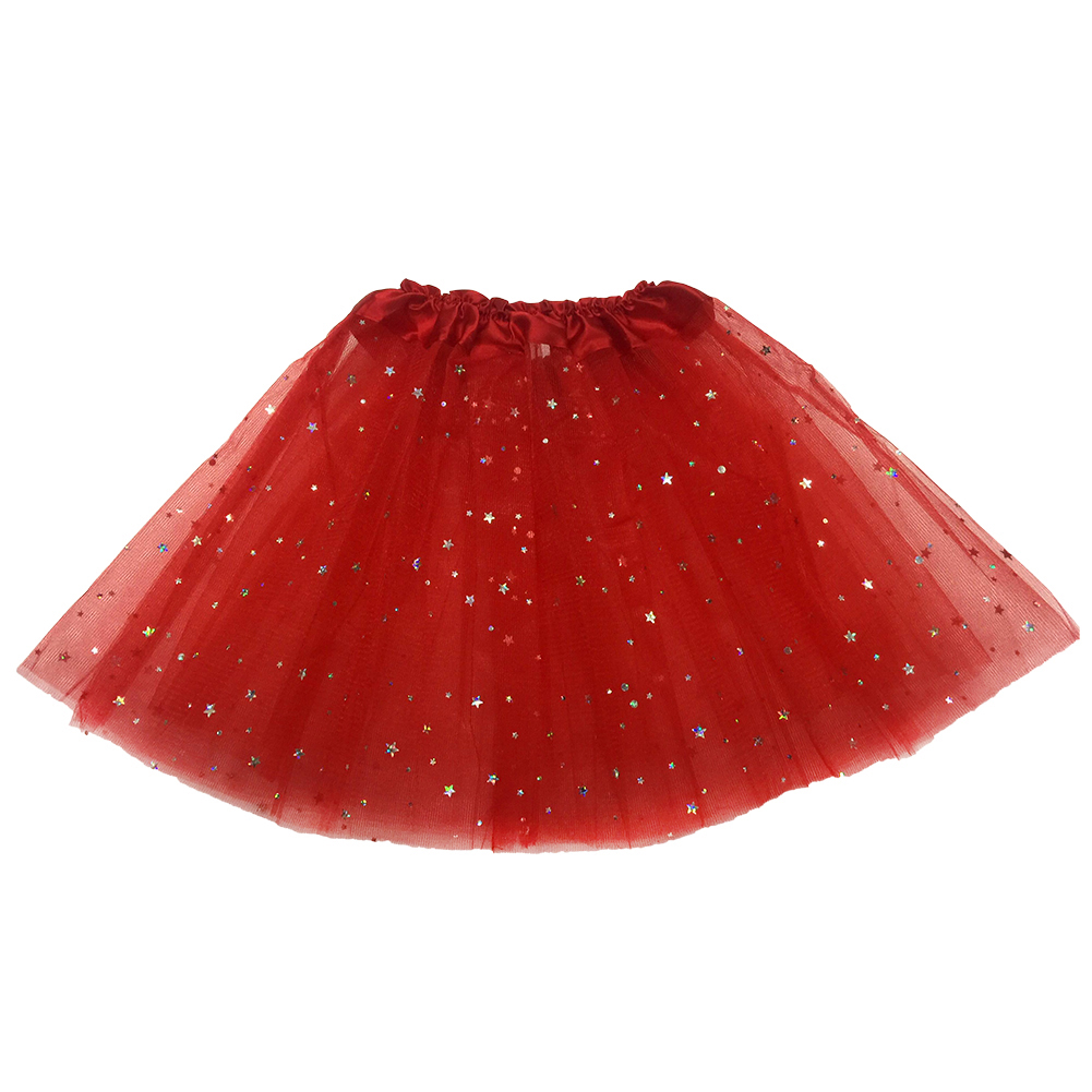 Kids Baby Girls 3 Layers Tulle Toddler Lace Pettiskirt Shimmer Sequin Dance Skirt red_One size
