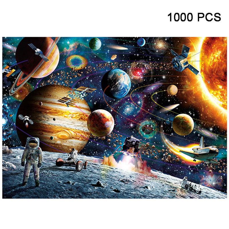 1000 Pieces Jigsaw Puzzles Educational Toys Scenery Space Stars Educational Puzzle Toy for Kids/Adults Christmas Halloween Gift Space traveler