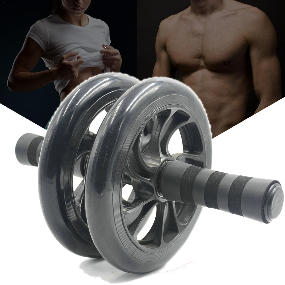 Multifunctional  Device Double Roller Abdominal Fitness Wheel Muscle Fitness Equipment black