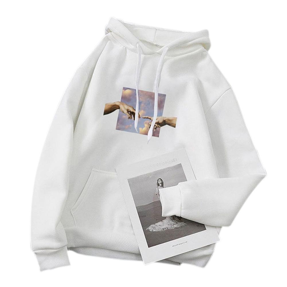 Women's Hoodie Fall Winter Loose Pullover Long-sleeve Printing Hooded Sweat XL