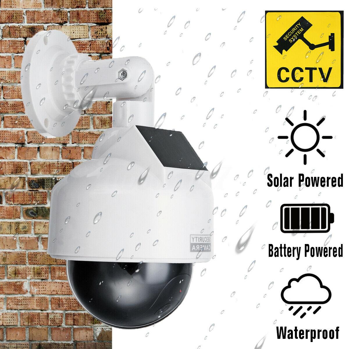 Solar Power Fake CCTV Camera Realistic Dummy Security Simulation Monitor white