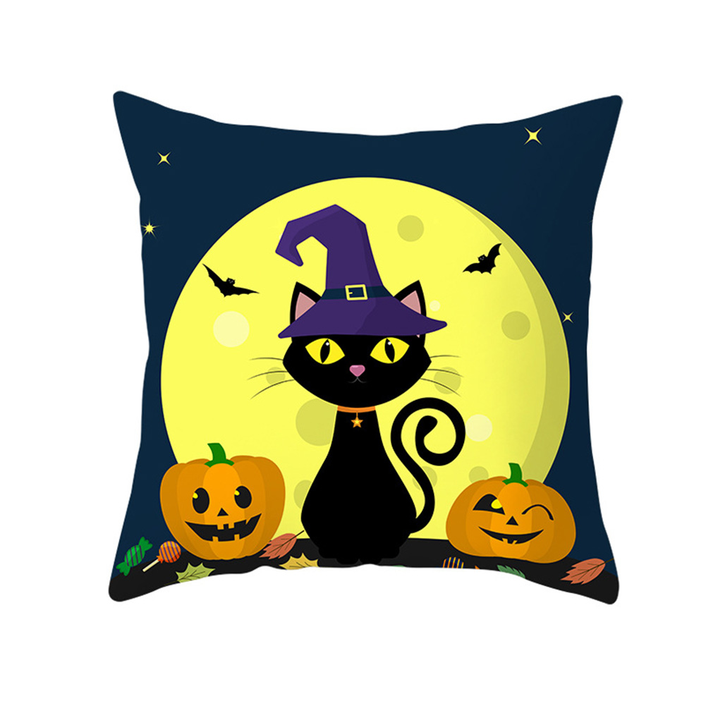 Halloween Series Pumpkin/Black Cat Printing Throw Pillow Cover Decor for Home Party TPR181-27_45*45cm (without pillow)