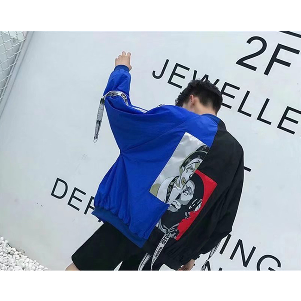 Contrast Color Cardigan Top Floral Printed Base Ball Jacket of Long Sleeves and Stand Collar Blue & black_L