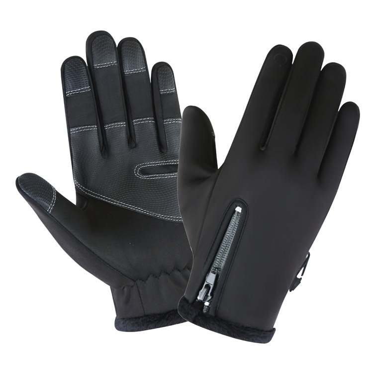 Cold-proof Ski Gloves Waterproof Windproof Anti Slip Winter Gloves Cycling Fluff Warm Gloves For Touchscreen black_M