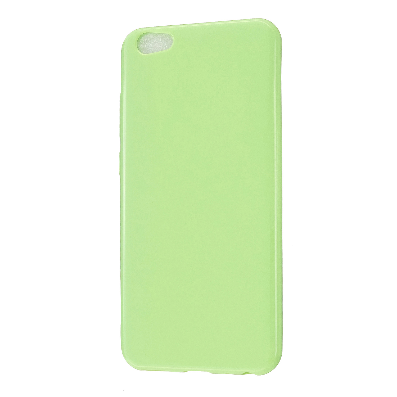 For VIVO Y67/Y71 Cellphone Cover Glossy TPU Phone Case Anti-Dust Stain-proof Easy Install Screen Protector Fluorescent green