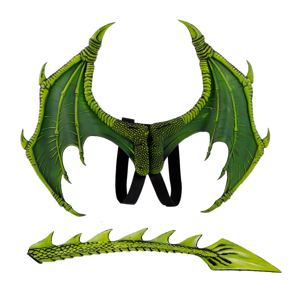 Halloween Carnival Kids Dress Up Toy Dragon Wings Tail Set Child green wings tail