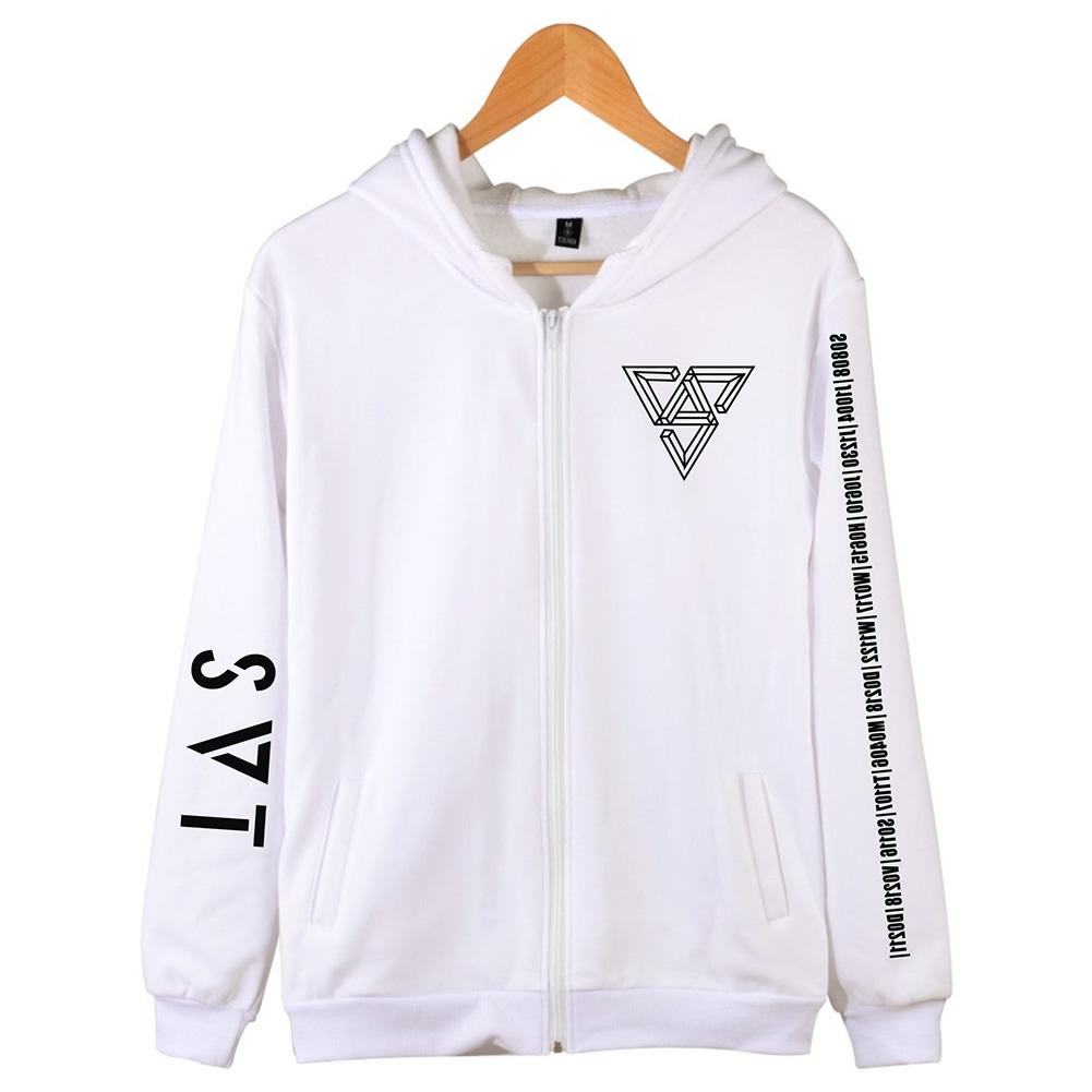 Women Men SEVENTEEN SVT Concert Autumn Zipper Sweater Coat Jacket Tops white_L