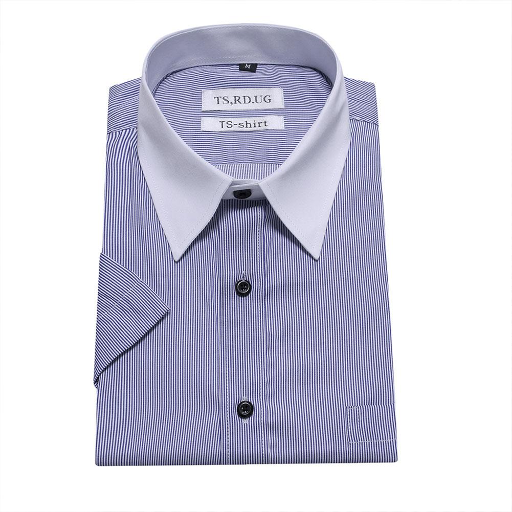 Men Short Sleeve Formal Shirt Casual Business Autumn Lapel Adults Tops blue_XXL