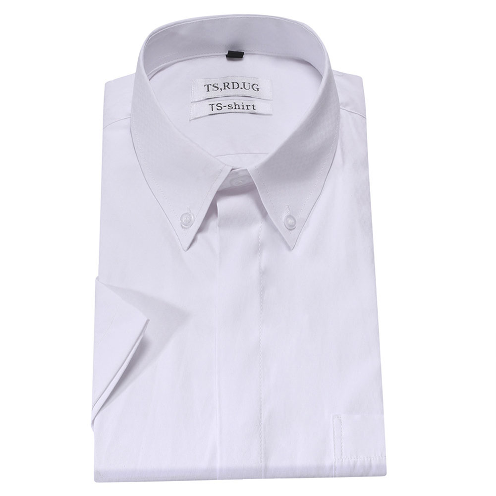 Men Short Sleeve Formal Shirt Casual Autumn Lapel Business Shirt for Adults White_M