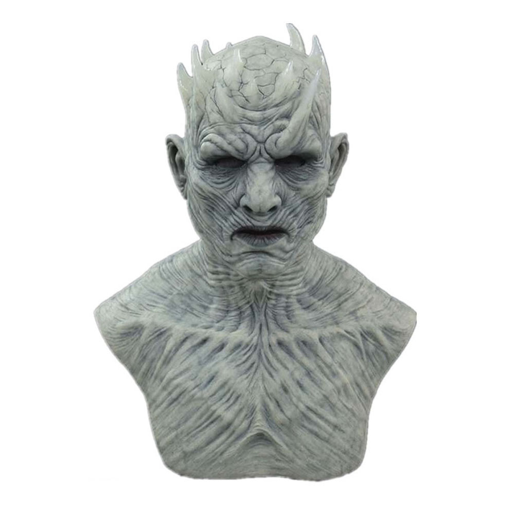 Halloween Mask Long Haired Night King Headgear Horror Latex Face Mask Long Night King