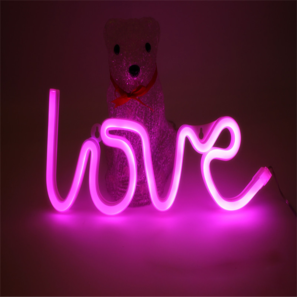 LOVE Letters Shape LED Light Wall Hanging Neon Light for Festival Party Wedding Decor Pink_Battery Package