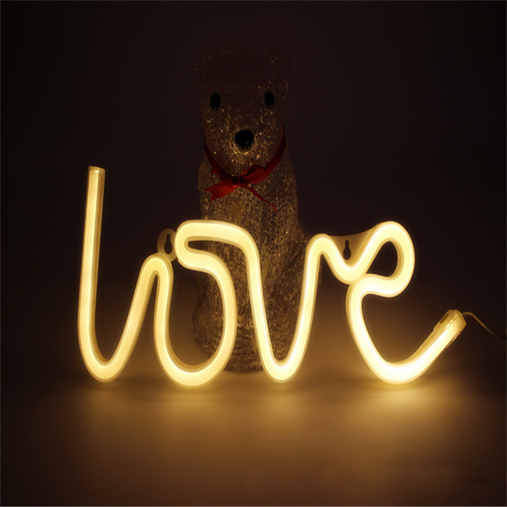 LOVE Letters Shape LED Light Wall Hanging Neon Light for Festival Party Wedding Decor Warm white_Battery Package