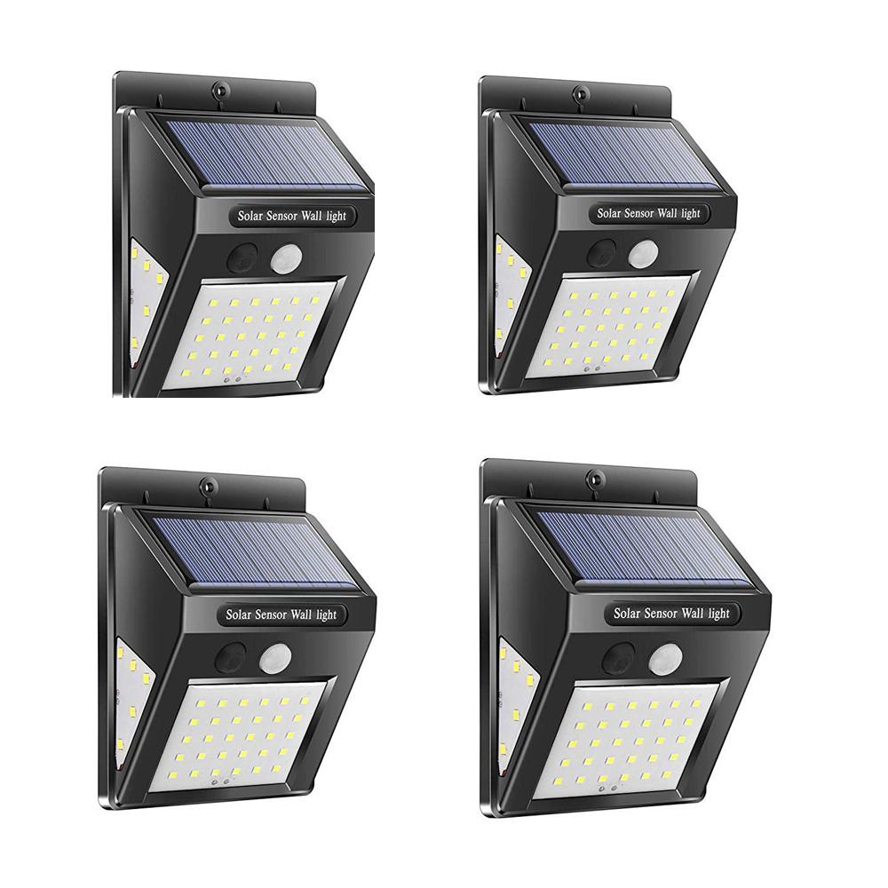 30LEDs Solar Lamp Motion Sensor Wall Light IP65 Waterproof Emergency for Garden  Outdoor Lighting 4PCS
