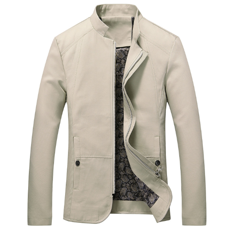 Men Casual Outdoor Slim Jacket Stylish Standing Collar Coat Cotton Tops  creamy-white_XXXL