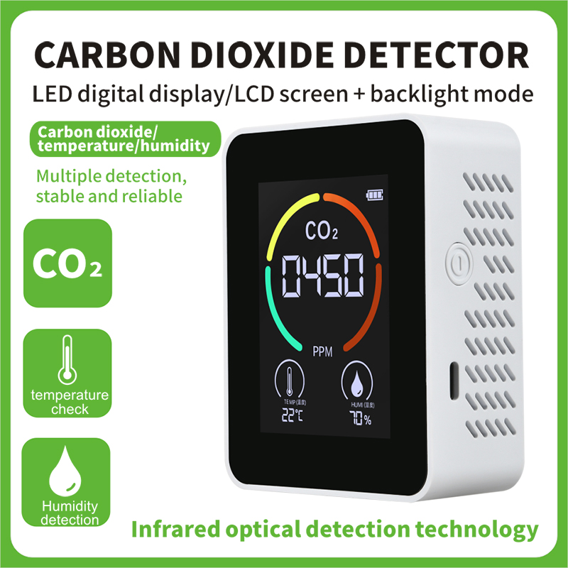 Carbon Dioxide Detector With Indoor Outdoor Temperature Detection Co2 Air Detector white