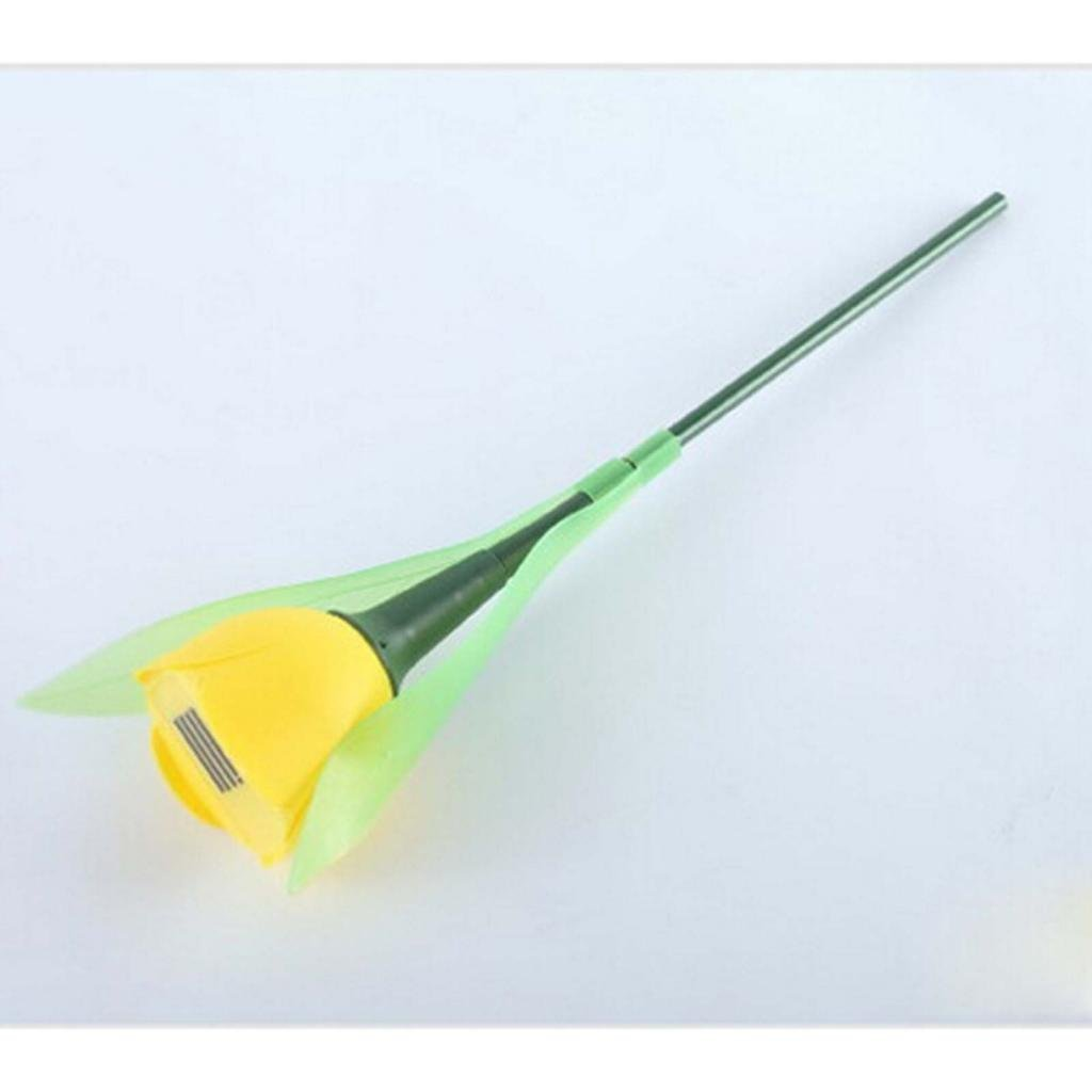 HuntGold 1X Tulip Flower Shape Solar Powered LED Lamp Outdoor Yard Garden Lawn Path Lighting(yellow)