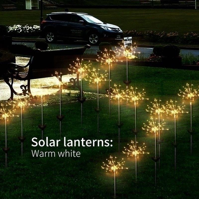 2PCS Solar Powered Lawn Light Waterproof Fireworks Copper Lamp String for Christmas Decor warm light_2 mode 150LED-warm white