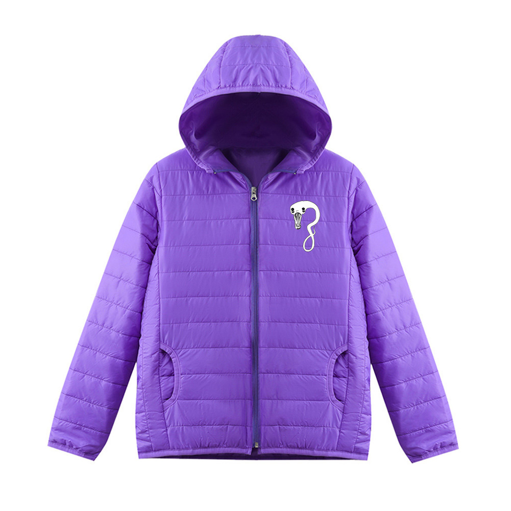 Thicken Short Padded Down Jackets Hoodie Cardigan Top Zippered Cardigan for Man and Woman Purple D_M