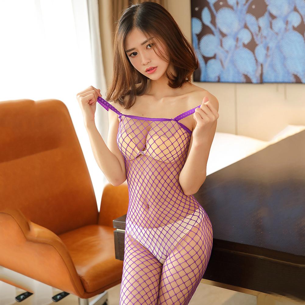 Women Lingerie Plus Size Sexy Erotic Hollow Mesh Sexy Lingerie Fishnet Sex Costumes Underwear purple_average size