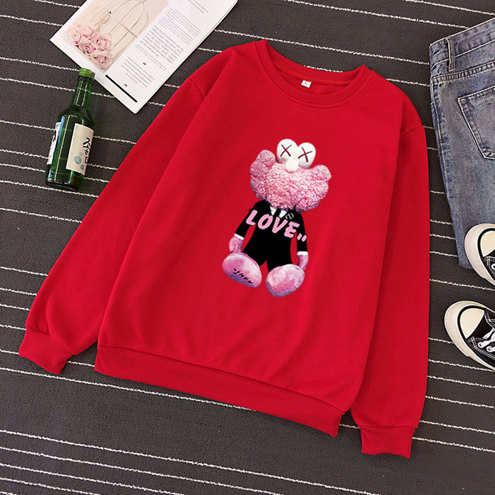 KAWS Men Women Hoodie Sweatshirt Cartoon Love Doll Thicken Autumn Winter Loose Pullover Red_L