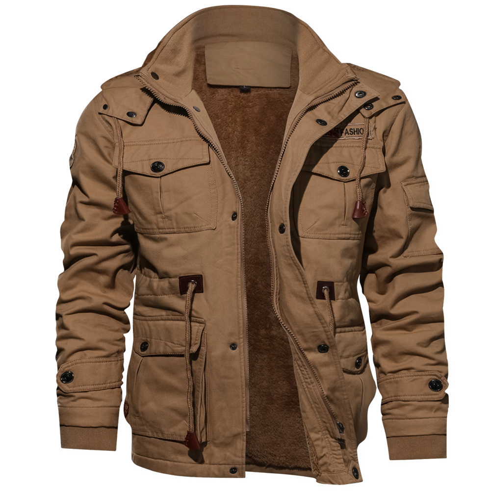 Men Autumn And Winter Fleece Lined Thickening Embroidered Cotton Hooded Jacket Coat Tops Khaki_XXXXL