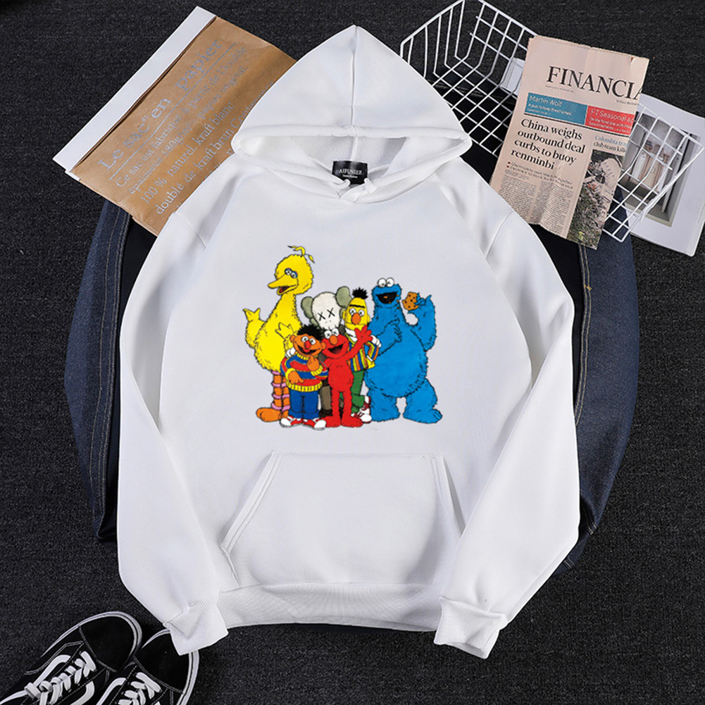 KAWS Men Women Hoodie Sweatshirt Cartoon Animals Thicken Loose Autumn Winter Pullover White_M