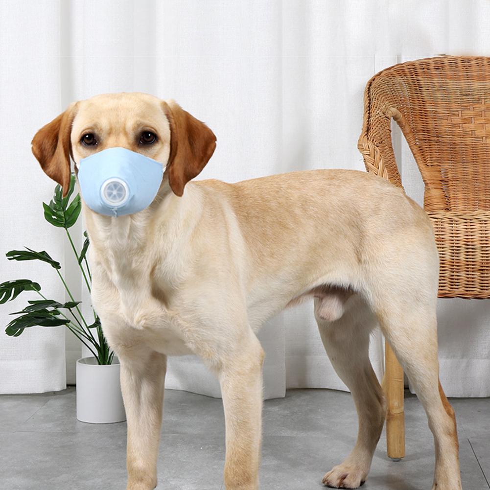 Pet Dog Soft Face Cotton Mouth Cover Respiratory Filter Anti-fog Haze Muzzle Face Guard Light blue_L