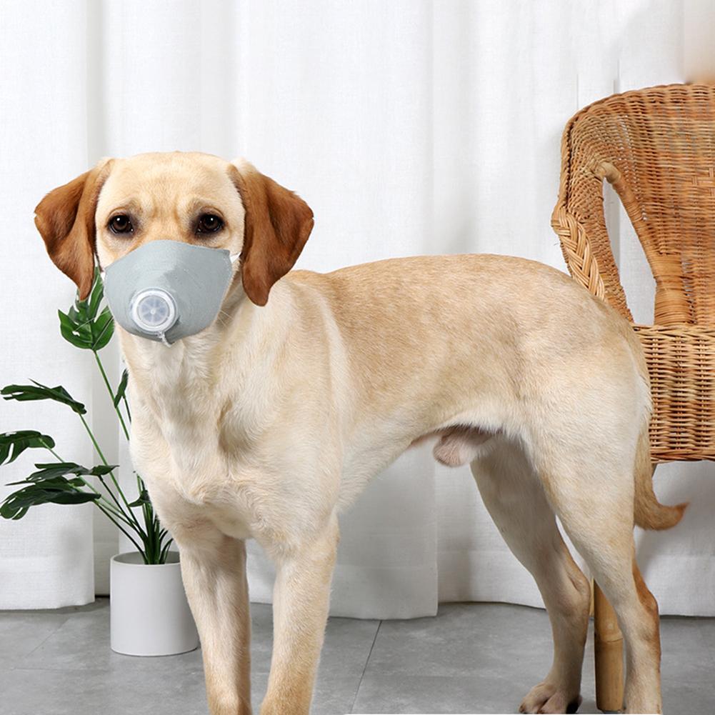 Pet Dog Soft Face Cotton Mouth Cover Respiratory Filter Anti-fog Haze Muzzle Face Guard Gray 3pcs/set_L