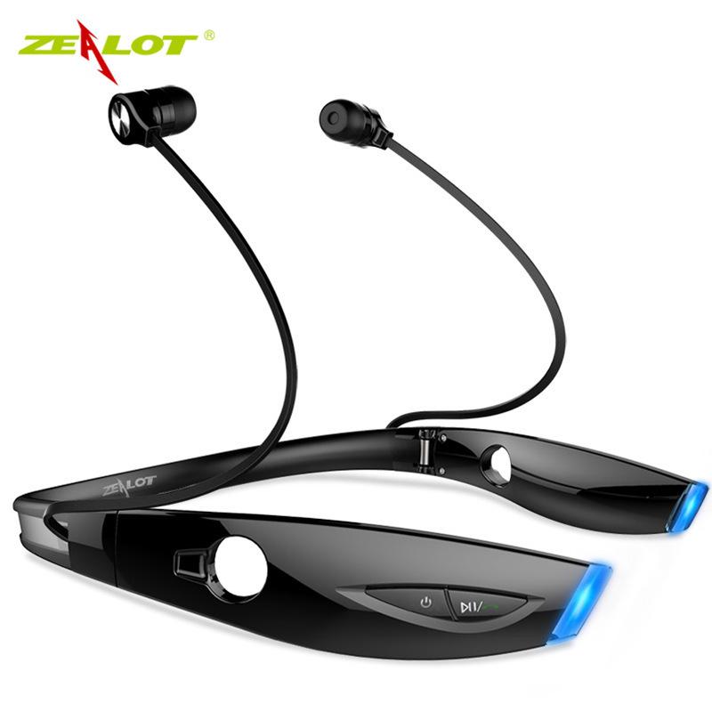 Bluetooth Wireless Earphones Luminous Neckband Running Sport Stereo Noise Cancelling in-ear Earbuds black