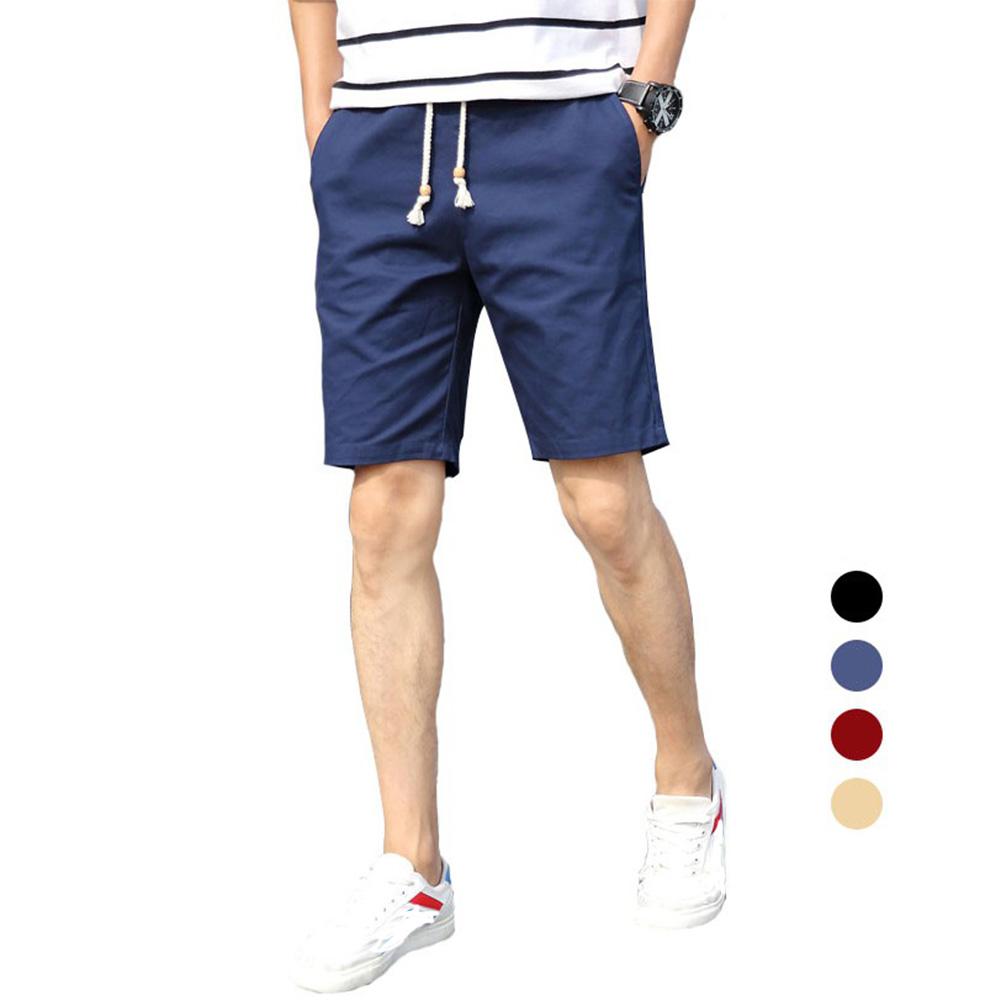 Men Simple Casual Beach Shorts  Navy_XL
