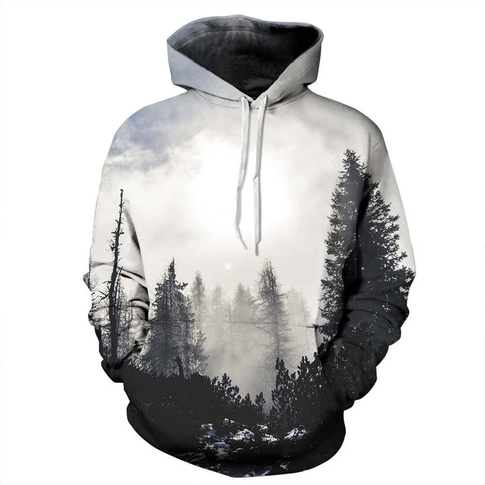 Men/Women 3D Print Black and White Forest Hoodie Fashionable Hooded Pullover Top Black and white forest_M