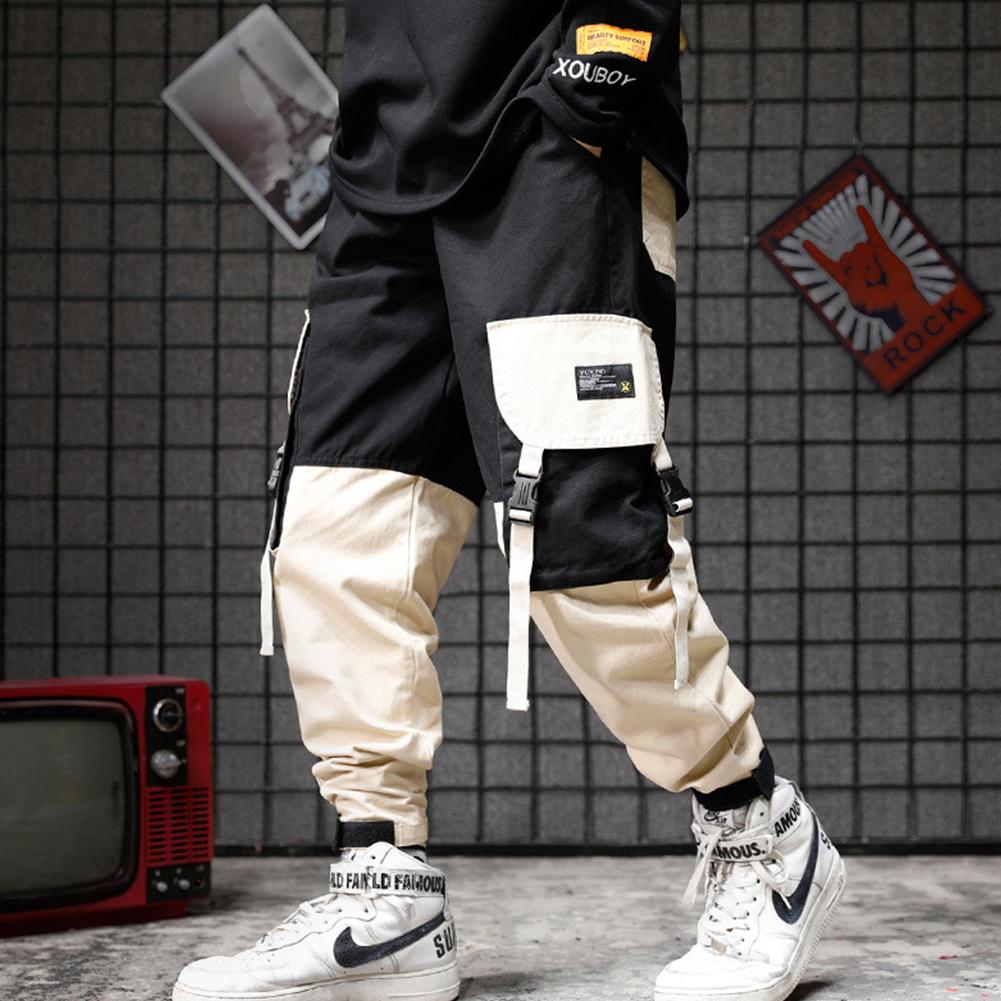 Men Pockets Retro Contrast Color Cargo Pants Patchwork Casual Jogger Fashion Trousers Tide Harajuku Streetwear Khaki_XL