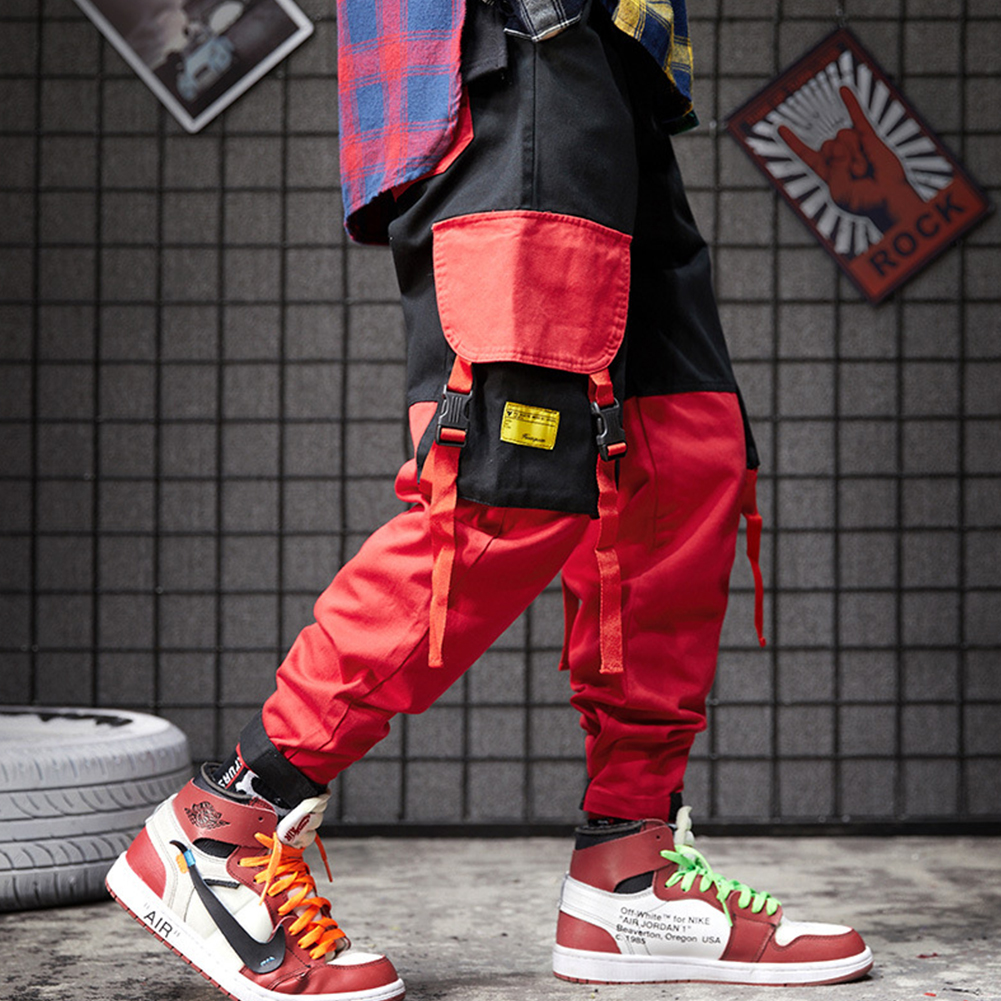 Men Pockets Retro Contrast Color Cargo Pants Patchwork Casual Jogger Fashion Trousers Tide Harajuku Streetwear red_L
