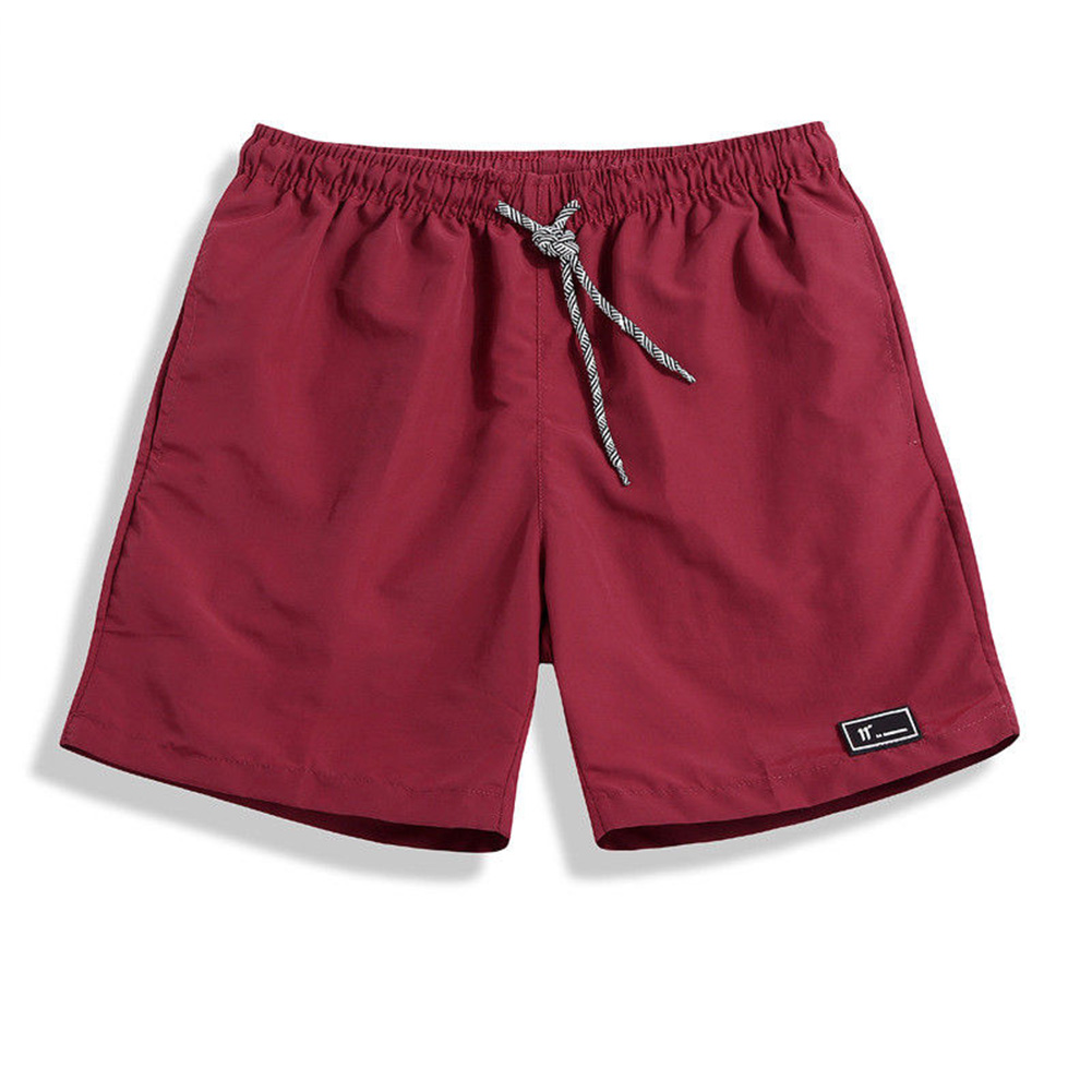 Men Summer Thin Casual Sports Middle Length Pants  jujube red _M