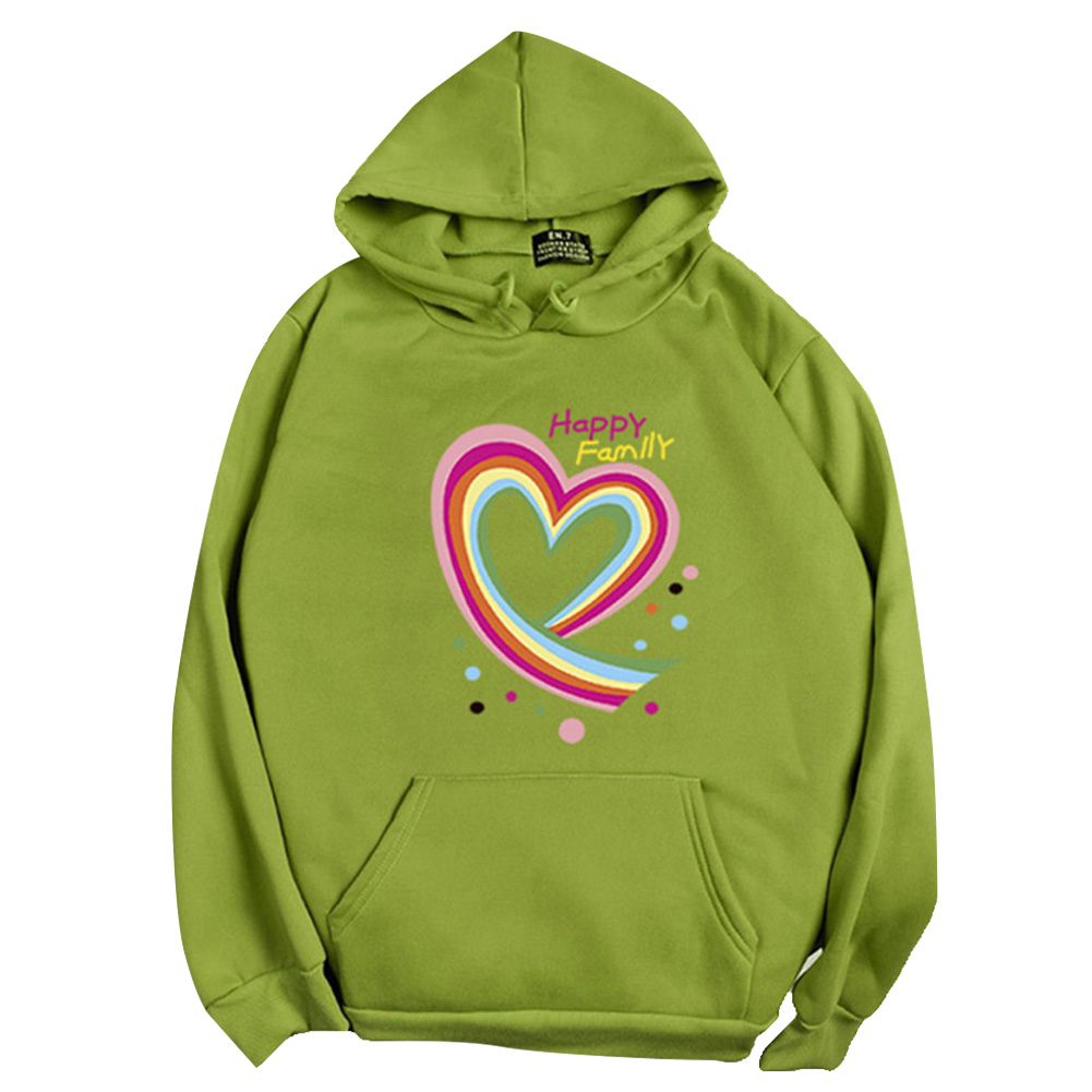 Men Women Hoodie Sweatshirt Happy Family Heart Loose Thicken Autumn Winter Pullover Tops Green_S