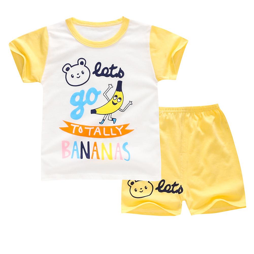 2Pcs/Set Kids Cartoon Pattern Short Sleeve Shirt Shorts Pyjama for Home Wear Yellow banana_100cm