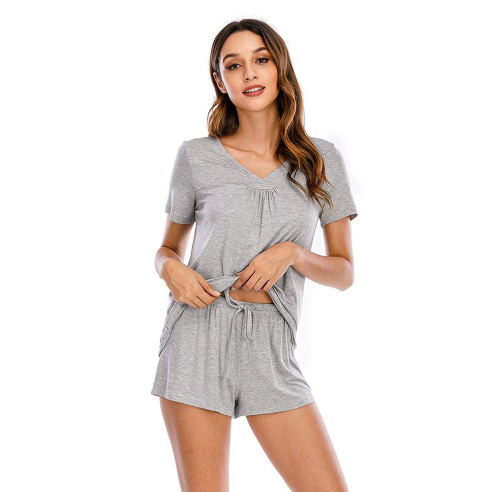 Women Shorts Pajama Set Short Sleeve Sleepwear Nightwear gray_M
