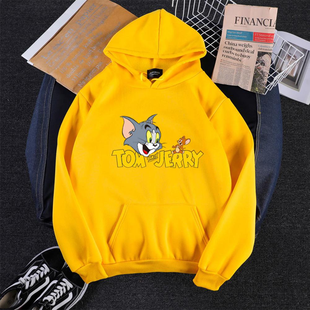 Men Women Hoodie Sweatshirt Tom and Jerry Cartoon Thicken Loose Autumn Winter Pullover Tops Yellow_S